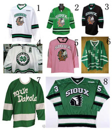 Wholesale Factory Outlet University K1 North Dakota Fighting Sioux Hockey Jerseys Black Green White Pink Customized Your Name Number Sewn On XXS