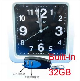 32GB Clock spy White square wall clock hidden spy camera dvr with 32GB memory,32GB Wall Clock Spy Camera with Remote Control