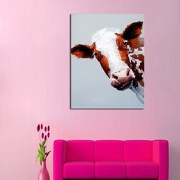 Wholesale Decorative Art Handmade Oil Painting On Canvas Stupid Cow Picture For Living Room Home Decor Wall Paintings Animal Pictures