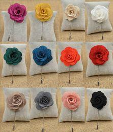 10piece lot new men brooch flower lapel pin 4cm suit boutonniere wedding groomsman button flower short pin wholesale