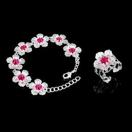 Descuento piedras preciosas conjunto de plata de ley El más reciente ronda de Ruby Cuarzo piedra preciosa de la plata esterlina 925 pulsera flor anillo ajustable conjunto de joyería de sistemas de la joyería de la boda