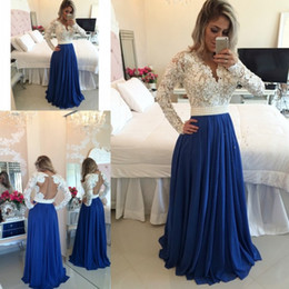 Royal Blue Long Sleeve Prom Dresses 2015 Fall V neck Backless Hot Long A Line Covered Buttons Party Evening Gowns Custom made