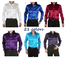 Wholesale 2015 new fashion Mens Slim fit High quality silk Long Sleeve tuxedo Shirts Mens dress Shirts with cufflinks colors S XXXL