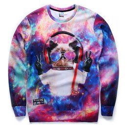 Wholesale w151212 Andy Hot sell New fashion men women d sweatshirts funny print glasses DJ cat galaxy hoodies Victory finger sign tops