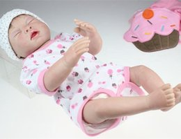 Wholesale 20inch Lifelike Washable Silicone Sleeping Cake Bibpants Doll Reborn New Baby Alive Great Toys Gifts For Kids Women Collection
