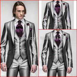 Wholesale New Style Shiny Silver Grey Groom Tuxedos Peak Lapel Groomsmen Best Man Mens Wedding Suits Jacket Pants Vest Tie G541
