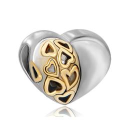 Wholesale Love Tone - Valentine's Day Large Hole Wholesale 2 Toned Heart Love European Bead Fit Pandora Chamilia Biagi Charm Bracelet