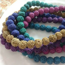 Wholesale plz choose color mm Natural Lava Stone Bead Loose Strand Jewelry Beads Accessories Findings