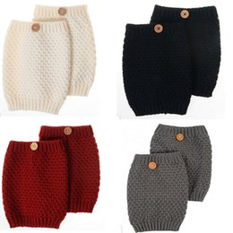 Wholesale-Short Knitted Leg Warmers For Women Hollow Boot Socks Buttons Boot Cuffs Boot Toppers Ladies Knit Legwarmers Solid Beenwarmers
