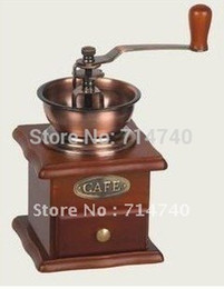 Wholesale Vintage Manual Hand Wooden Coffee Mill Grinder Antique Brass
