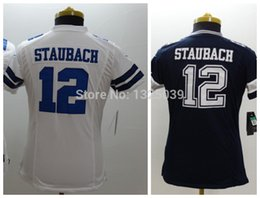 Wholesale Factory Outlet Ladies Roger Staubach Jersey White Blue Women Lady Football Jerseys New Woman Best Quality Embroidery Logo Mix Orde