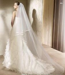 Wholesale 2T Meters Ivory White Wedding Veil Short Bridal Veils SATIN Edge Bridal Head Pieces Cathedral Bridal Mantilla wedding dresses Veils