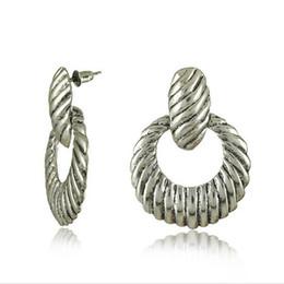 Wholesale Simple OL Vintage silver Earrings for office lady Antique silver plated hoop dangle Earrings stud Earings store E0138