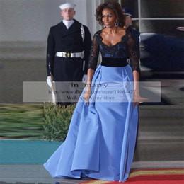 Wholesale Michelle Obama Celebrity Dresses Elie Saab Black Lace Long Sleeves Plus size Light Blue Satin Sequin Arabic Dresses Evening Wear