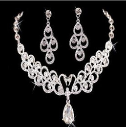 Wholesale Big Discount New necklace and earring set Rhinestones Diamond Designer Evening Bangles Bridal Accessory Jewelry Cheap