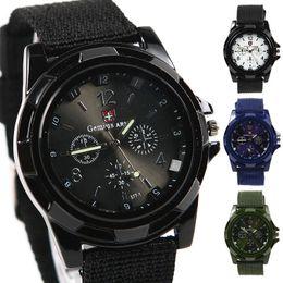 Wholesale High Quality Mens Casual Solider Boy Military Army Sport Canvas Belt Luminous Quartz Wrist watch L05469