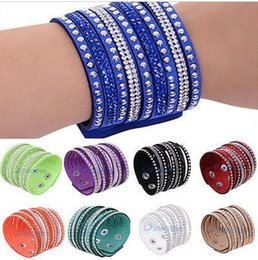 Women Multilayer Wrap Rivet Rhinestone Suede Cuff Wristband Leather with Diamond Bracelet Good Gift for women