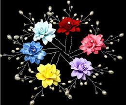 10pcs Fabric Pearl Crystal Beaded Flower Hair Pin For Bridal Wedding Hawaii Party