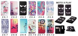 Leather Pu smile flower tower live life Flip Wallet Stand Phone Case Cover For Motorola Moto X Play With Card Slot