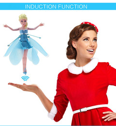 New Frozen Princess aisha Induction Flying Fairy Frozen Toys with Light and Music Brinquedos Kids Induction Remote Control Toys