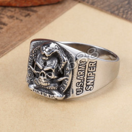 Wholesale 361L Stainless Steel Sniper United States US Army Military Skull Ring Size