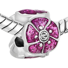 China Factory Rhodium Plated Pink Enamel White Crystal Rhinestone Open Flower European Charm Beads For Pandora Charm Bracelet