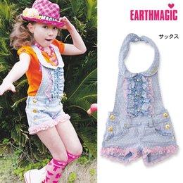 Wholesale New Kids Girls Summer Autumn Denim Overalls Baby Lace Jumpsuit Suspender Thouser Children Korean Jean Pants Children Boutique Clothes SH B02