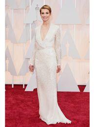 Wholesale 2015 Ivory Deep V Neck Faith Hill Celebrity Dresses the th Oscar Long Sleeve Sheath Evening Runway Fashion Gown