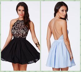 Wholesale New Sexy Backless Cross Back Black Blue Lace Ball Gown Organza Graduation Party Dress S21573 Formal Homecoming Dress Short Mini Prom Dresses