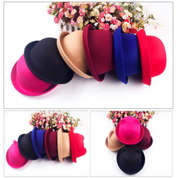 Wholesale Women s Autumn Winter Candy Color Wool Woolen Roll Up Brim Bowler Derby Cap Cat Ear Hat