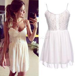 2014 Hot Selling White Women Sleeveless Lace Dresses Spaghetti Strap Flower Women Mini Dress Loose Sexy Casual Dress SV02