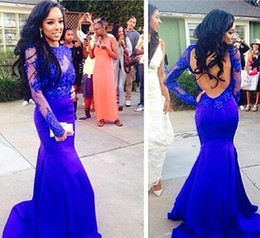New Fashion Sexy Backless Prom Evening Dresses 2015 Long Sleeves Blue Appliques Long Mermaid Celebrity Dresses Sweep Train Red Carpet Dress
