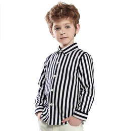 Wholesale-Momo.Chao children's clothing 2015 boys new fashion shirts black and white striped cotton shirt six sizes free shipping