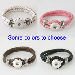 Wholesale-Best sellers Interchangeable 21CM real leather snaps bracelets snaps jewelry most popular fit ginger snaps KB0801