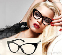 2016 fille chat cru Sexy Mode Vintage Cat-Eye Forme Femmes Lady Girls Plastic Plain Lunettes abordable fille chat cru