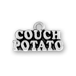 Wholesale Fashion DIY Jewelry Word Couch Potato Pendant for Women Jewelry Letter Charms Antique Silver Plated a