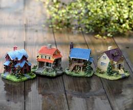 2pcs Villa House Micro landscape Fairy Garden Decorative craft resins Gnome Aquarium ornaments succulents Terrarium Miniatures