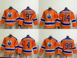 Wholesale Newest Youth Edmonton Oilers Gretzky Mcdavid eberle hall Orange New Kid Ice Hockey Jerseys Best Quality Low Price