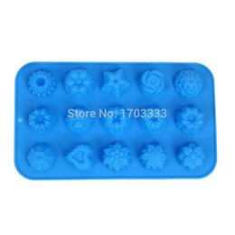 Wholesale Silicone Heart Shaped Chocolate Mould - 50pcs lot 15 various types of flowers and heart shaped silicone chocolate mold Jello pudding mold cake mould Free shipping