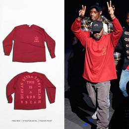 Hot Pre-Sale Hip Hop Mens T Shirt SEASON Streetwear Red Tee Long Sleeve O-neck T-Shirt Kanye West Letter Sportwear S-3XL
