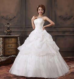 Cheap Appliques Beaded Strapless Ruffles Ball Gown Wedding Dress Under $100