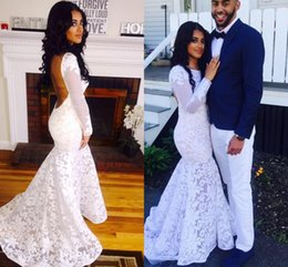 Mermaid Sexy Backless Formal Evening Dresses with Long Sleeve Appliques Long Custom White Long Prom Dresses 2016 vestidos de formatura