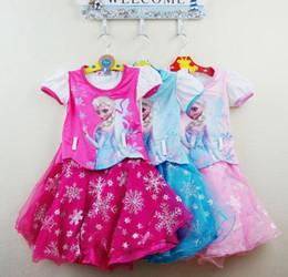 meilleure vente nouveau congelés filles été Elsa robe congelés princesse robes avec ceinture manches courtes robe 3 couleur 5pcs/1lot à partir de belles robes à manches courtes fabricateur