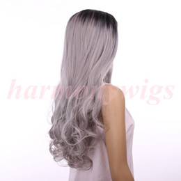 Lace Front Wigs 18inch Ombre Black&Gray Big wave Curly Synthetic heat Resistant women hair wigs hot sale