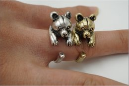 10pcs lot Danity Cute Bear Wrap Ring for Woman Girls Adjusable Ring Retro Burnished Ring Animal Ring Great Gift For Animal Lovers JZ306