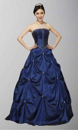 Wholesale Cute Strapless Delicate Beadwork A Line Pretty Collection Of Sweet Quinceanera Dresses Dark Navy Cheap