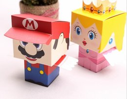 Wholesale Super Mario Candy Boxes - new fashion 2015 50pair(100pcs) choose Super Mario& princess new marriage charm Shower Favor Candy Boxes Wedding Party Gift hold bag
