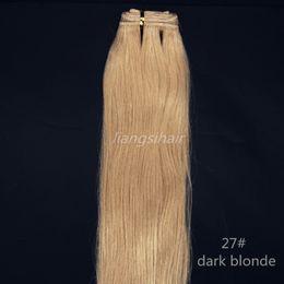 "Human Hair Weaves Brazilian Virgin Remy Hair Weft Indian Peruvian Hair Bundles Extensions 100g 1pcs 14""-24"" 27# Dark Blonde"