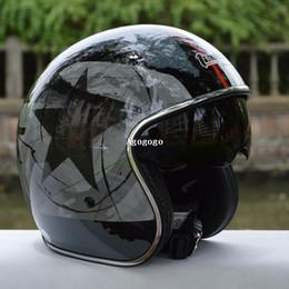 Cascos de carreras de la vendimia en Línea-Casco envío capacetes casco de motocicleta Tanked que compite con la cara abierta del casco Jet Casco Chopper hombre vetro vendimia de las mujeres