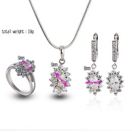 Wholesale 18K platinum Plated Zirconia bridal jewelry sets Ring Earring Necklace Jewelry Set Nickel Lead free E shine Jewelry